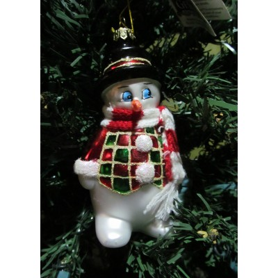 Glass Snowman with Scarf Christmas